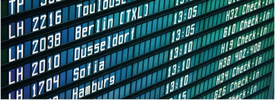 European departure board