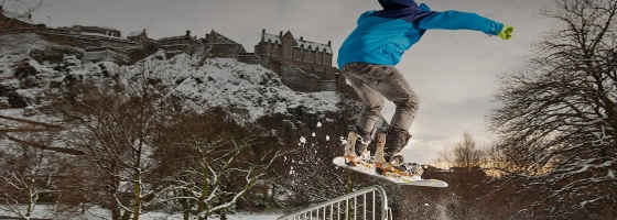 Snowboarder at Edinburgh Castle